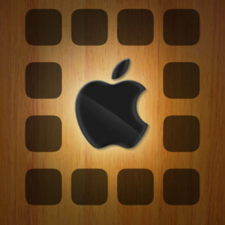 Apple logo plate brown shelf iPhone5s / iPhone5c / iPhone5 Wallpaper