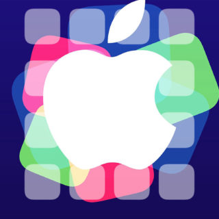 Apple logo events cool shelf purple colorful iPhone5s / iPhone5c / iPhone5 Wallpaper