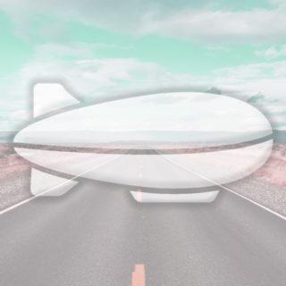 Landscape road airship light blue iPhone5s / iPhone5c / iPhone5 Wallpaper