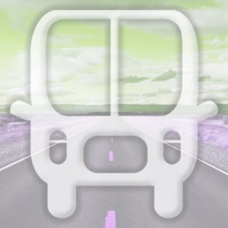 Landscape road bus Yellow green iPhone5s / iPhone5c / iPhone5 Wallpaper