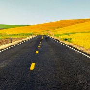 Road sky yellow landscape iPhone8 Wallpaper
