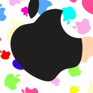 Apple logo colorful women for black iPhone8 Wallpaper