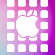Apple logo  shelf  red  blue purple iPhone8 Wallpaper