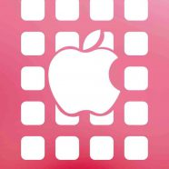 Apple logo  shelf  red  pink iPhone8 Wallpaper
