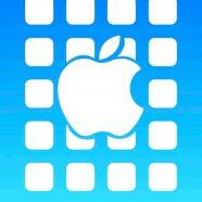 Apple logo  shelf  blue iPhone8 Wallpaper