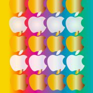 Shelf colorful gold and silver apple iPhone8 Wallpaper