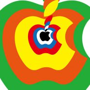Apple logo red yellow orange, green, and blue iPhone8 Wallpaper