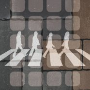 Cobbled illustrations shelf Abbey Road-style black iPhone8 Wallpaper