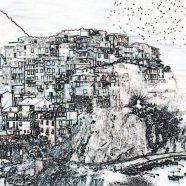 Landscape illustration hill house iPhone8 Wallpaper
