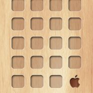 Shelf wooden board brown yellow Apple logo iPhone8 Wallpaper