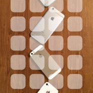 iPhone4s, iPhone5s, iPhone6, iPhone6Plus, Apple logo wooden board brown shelf iPhone8 Wallpaper