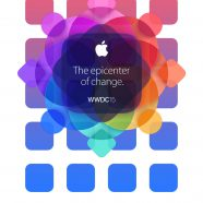 Apple logo colorful WWDC15 shelf iPhone8 Wallpaper