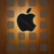 Apple logo shelves brown black iPhone8 Wallpaper