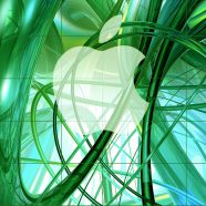 Apple logo shelf cool green iPhone8 Wallpaper