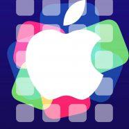 Apple logo event purple shelf iPhone8 Wallpaper