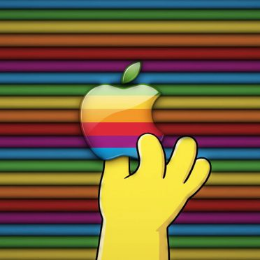Apple logo colorful hand iPhone8 Wallpaper