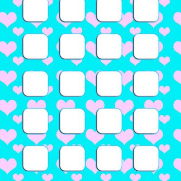 Heart pattern Tosui  blue  shelf  for girls iPhone8 Wallpaper