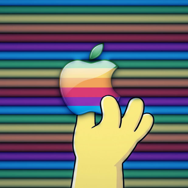 Apple logo colorful hand iPhone8Plus Wallpaper
