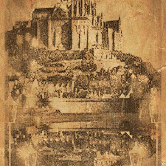 Mont Saint Michel Blanco y Negro Fondo de Pantalla SmartPhone para Android