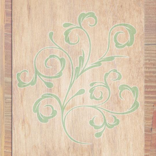 Grano de madera marrón de las hojas verdes Fondo de Pantalla SmartPhone para Android