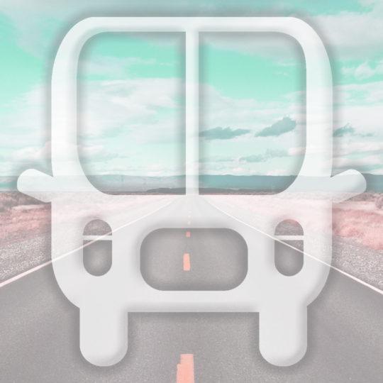 Paisaje de color azul claro bus de ruta Fondo de Pantalla SmartPhone para Android