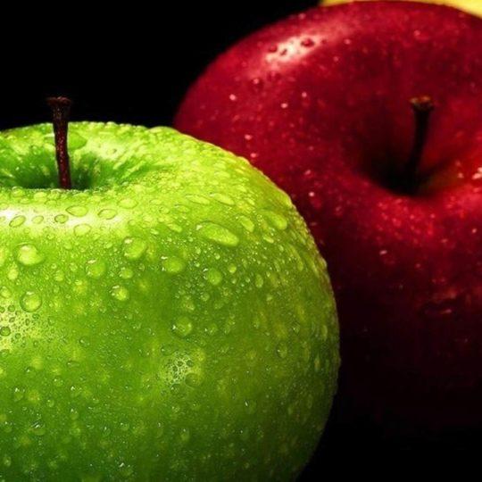 Manzana verde rojo amarillo guay Negro Fondo de Pantalla SmartPhone para Android