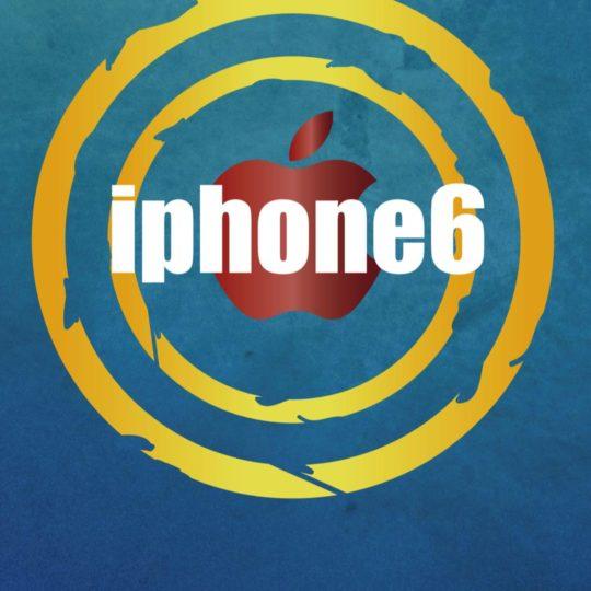 Illustration biru iPhone6 Apple logo Android SmartPhone Wallpaper
