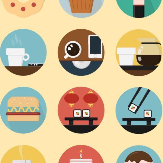 Ilustrasi makanan kuning berwarna-warni untuk wanita Android SmartPhone Wallpaper