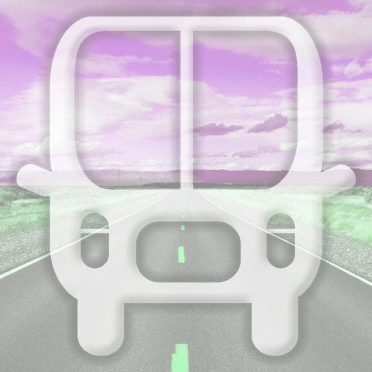 Landscape bus jalan Berwarna merah muda Android SmartPhone Wallpaper