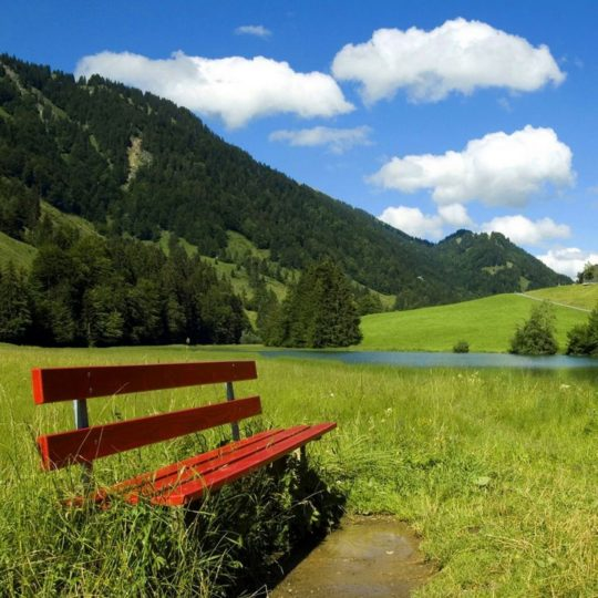 pemandangan bench biru Android SmartPhone Wallpaper