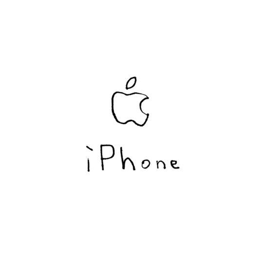 Ilustrasi logo Apple iPhone putih Android SmartPhone Wallpaper