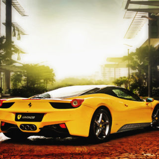 Kendaraan mobil keren kuning