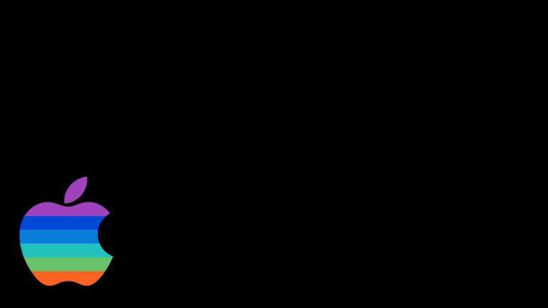 Logo Apple berwarna-warni keren hitam Desktop PC / Mac Wallpaper