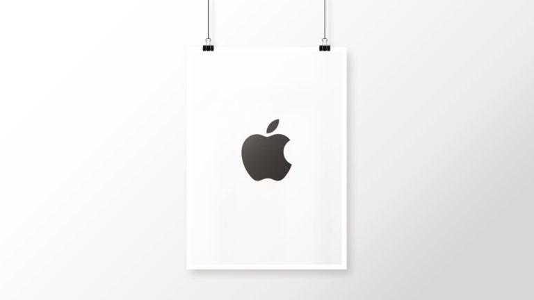 Logo Apple hitam dan putih poster keren Desktop PC / Mac Wallpaper