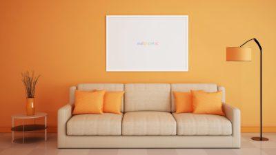 Pedalaman sofa oranye wallpaper.sc