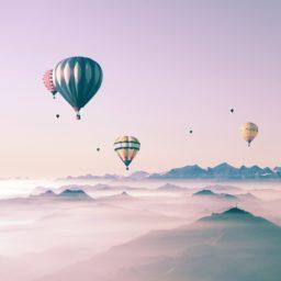 Lucu lanskap langit balon untuk anak perempuan iPad / Air / mini / Pro Wallpaper