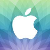 Logo Apple acara semi, hijau, dan biru ungu