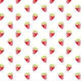 Pola ilustrasi buah stroberi wanita-ramah merah