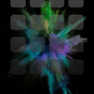 iOS9 hitam ledakan warna-warni rak keren iPhone4s Wallpaper