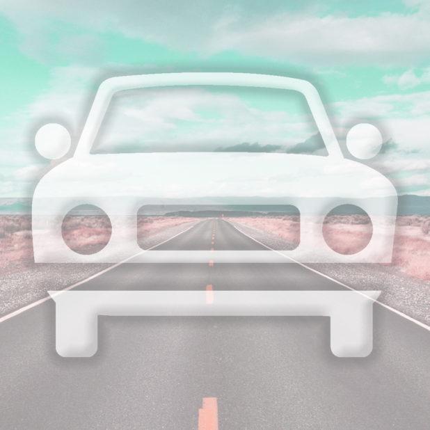 jalan mobil lanskap biru muda iPhone7 Plus Wallpaper