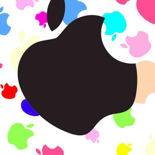 Logo Apple perempuan berwarna-warni untuk hitam iPhone7 Plus Wallpaper
