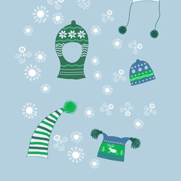 salju musim dingin topi hijau yang lucu anak perempuan dan wanita untuk iPhone7 Plus Wallpaper