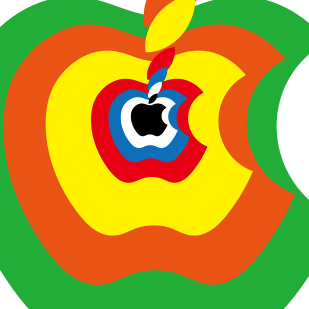 logo Apple biru merah kuning hijau oranye iPhone7 Plus Wallpaper