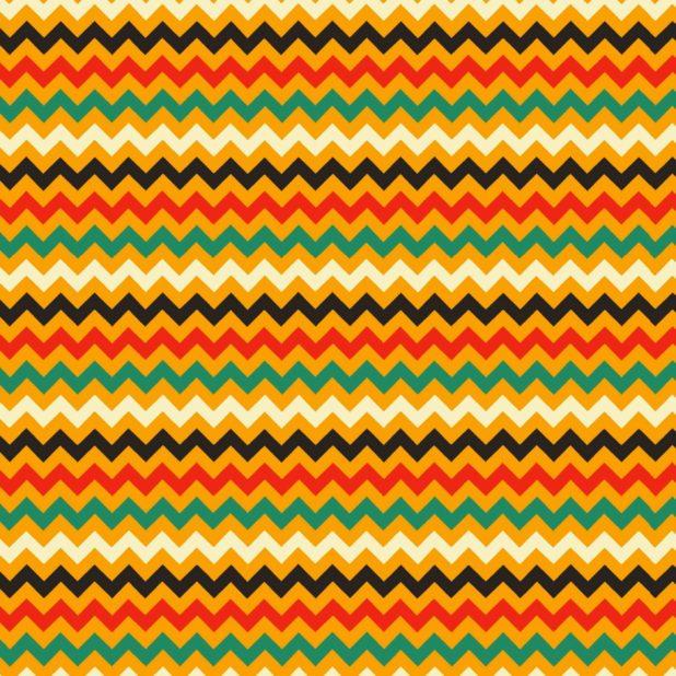 Pola perbatasan bergerigi merah-oranye hijau iPhone7 Plus Wallpaper