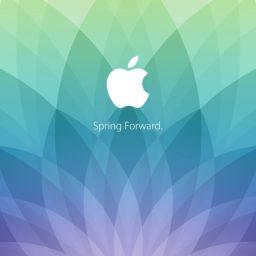 Appleロゴ春イベント spring forward. 緑青紫の iPad / Air / mini / Pro 壁紙