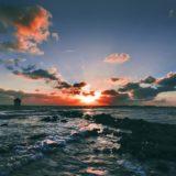 風景海空夕暮れ