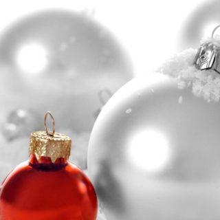 クリスマス赤銀の iPhone4s 壁紙