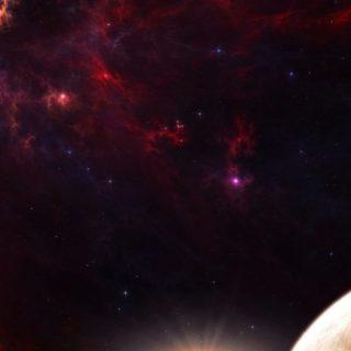 宇宙赤の iPhone4s 壁紙