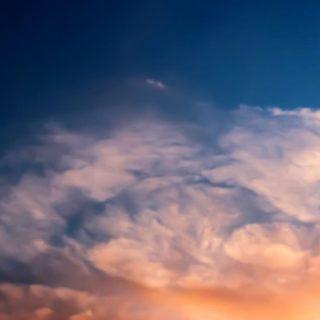 風景雲橙青の iPhone4s 壁紙