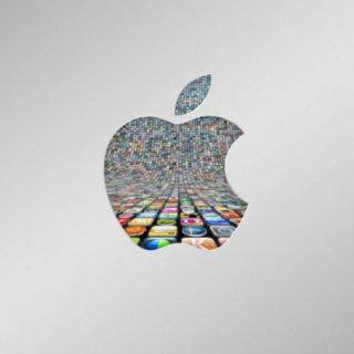 Appleアイコン銀の iPhone4s 壁紙
